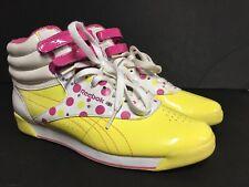 71689e12c2d4e Reebok Classic Pink Yellow Polka Dots Hi Top Size 8 Sneaker 90s Style