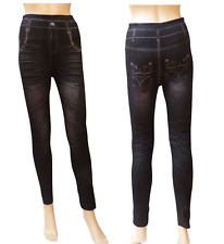 Leggings femme imititation jeans-Taille unique (du 38 au 42)-2 Coloris au choix