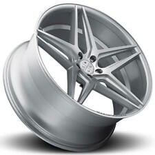 "4ea 22"" Staggered Blaque Diamond Wheels BD-8 Silver with Polished Rims (S6)"
