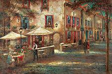 Ruane Manning: Courtyard Cafe Fertig-Bild 60x90 Wandbild Restaurant Romantik