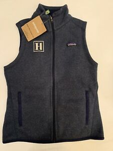 """NWT Patagonia Women's Better Sweater Vest """"H"""" Knit Fleece Lined Small Navy New"""