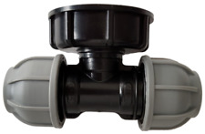 IBC Tank Adapter S60x6 to MDPE Tee Pipe Fitting 25mm