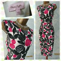 🌹 PHASE EIGHT Grey Pink Floral Stretch Bodycon Pencil Wiggle Dress UK 10 🌹