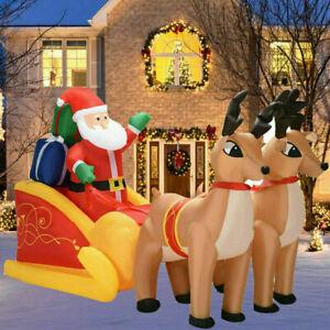 Christmas Inflatable Santa Dual Reindeer Sleigh Blowup Outdoor Yard Decor  M