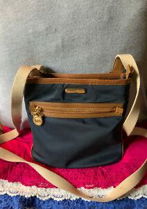 Michael Kors Navy Blue Nylon Brown Leather Trim Zip Shoulder Bag Cross Body
