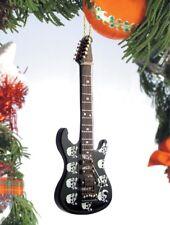 "Miniature 5"" Black Skulls Electric Guitar Hanging Tree Ornament"