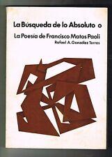 Rafael Gonzalez Torres La Poesia De Francisco Matos Paoli Puerto Rico 1978 BAP
