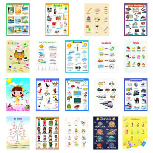 Kids Fun Early Learning Educational Posters Chart for Preschoolers