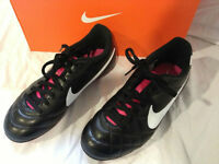 Nike JR Tiempo Rio FG-R Soccer Cleats Youth Size 5.5 Black Pink 509035 016