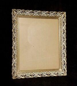 Fabulous Vintage Mid Century Gold & White  Floral Motif Filigree Picture Frame