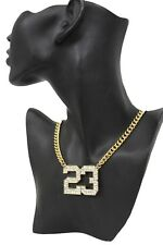Women Gold Metal Chain Fashion Necklace Number # 23 Jordan Bling Pendant Hip Hop