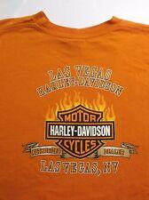 Harley Davidson Motorcycles LAS VEGAS T-Shirt Flames XXL Orange Dealer Biker