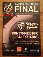 Pontypridd v Sale Sharks - Final Rugby Programme Played May 26th 2002 at kassam
