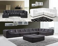Sectional Sofa Furniture Bonded Leather Sectional Couch 7pc Living Room 3 Color