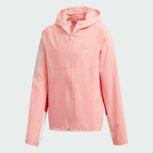 Girls Running Jacket adidas Own The Run Windbreaker Junior Kids Pink Sports Coat