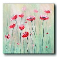 Öl auf LeinwandMohn Blumen Ölgemälde, Bild Wandekor Leinwand Kunst Wandbild