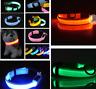 LED Light Up Dog Collar Nylon Pet Night Safety Bright Flashing Adjustable NEW
