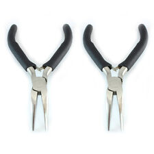 "2x Bent Nose Pliers 5"" curved needle nose micro pliers toothless non-serrated"