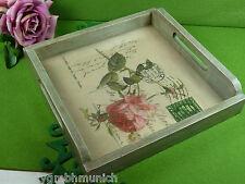 Tablett ❤ Liebesbrief ROSE ❤ Holz Glas SERVIERTABLETT Dinner tray Tableu Plateau