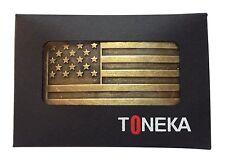 Fl103-50mm Men's Accessories Vintage Steampunk Brass USA Flag Plaque Buckle Fits