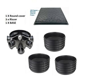 Amazon Civils 450mm Inspection Chamber Manhole  Base, 3 Riser, SQ Cover & Frame