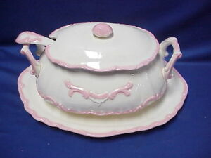 Vintage Mountainside Large Soup Tureen Pink and White with Ladle Spoon and Plate