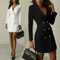 Women Lapel Blazer Double Breasted  V-neck Long Sleeve Work Dress Short Bodycon