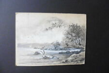 FRENCH SCHOOL 19thC - SWANS ON A LAKE SIGNED RICOU - INK-WATERCOLOR