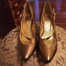 Dolce Vita Gold Leather Pointy Pumps - 6.5M