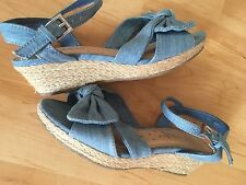 Girls Size UK 3 Denim low Wedge Sandals from Next