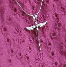 925 Sterling Silver Necklace Guardian Angel Cross Christening Silver Pendant UK