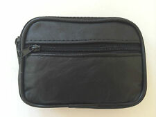 BLACK REAL LEATHER ZIP COIN PURSE WALLET POUCH CAMERA CASE CREDIT CARD MONEY