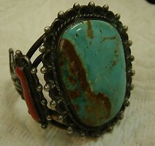 SOUTHWEST Watch-Bracelet Cuff In Sterling Silver W/ Turquoise/Coral  N174-A