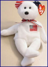 "TY Beanie Baby ""AMERICA"" 9/11 WHITE Teddy Bear Reversed Ears USA July 4th MWMT"