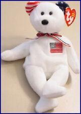 "TY Beanie Baby ""AMERICA"" 9/11 WHITE Teddy Bear Reversed Ears USA July 4th MWMT"