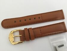 NEW JAGUAR 18MM LIGHT BROWN LEATHER STRAP - INCLUDES TWO 18MM SPRING BARS
