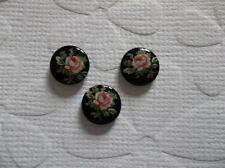 Vintage Cameos 8mm Pink Rose on Black Glass Cabochons - Made in Japan - Qty 6