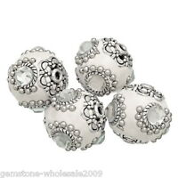 Wholesale W09 Clear Rhinestone Flower Clay Indonesia Beads 21x20mm
