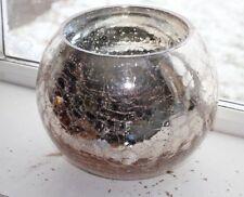 Large Gold Mercury Mirror Crackle Sparkle Glass Fish bowl Vase  Plant Pot
