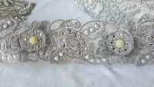 7cm- 1 meter Stunning silver floral beaded and pearls lace trimming for crafts