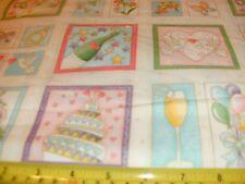 Makower Quilt Fabric Celebration Labels Flowers Wedding Butterfly Bird BTY
