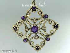 P096 Genuine 9ct Yellow Gold Natural Amethyst & Pearl Pendant Victorian style