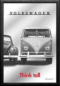 VW Volkswagen Käfer & Bus Nostalgie Barspiegel Spiegel Bar Mirror 22 x 32 cm