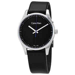 Calvin Klein Steadfast Black Dial Black Leather Men's Watch K8S211C1