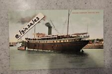 Racine Harbor Racine, WIS WI Wisconsin Two Masted Steam Ship - 1908