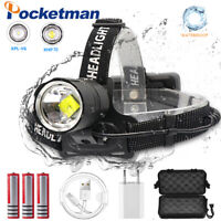 Ultra Bright 99000LM XHP70/V6 LED Headlamp Rechargeable 3 Modes Zoom Headlight