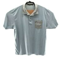 Travis Mathew Short Sleeve Polo Golf Shirt Mens Size XL Gray Blue Striped