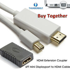 Mini For Apple Macbook Mac 6FT Display Port To HDMI Cable + HDMI Female Coupler