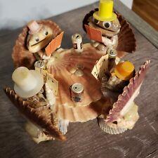 Vintage Sea Shell Folk Art Poker Players Coors Pabst Schlitz Advertizing