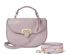 Aspinal Of London Deep Shine Lilac Croc Leather Letterbox Saddle Bag FREE STRAP!